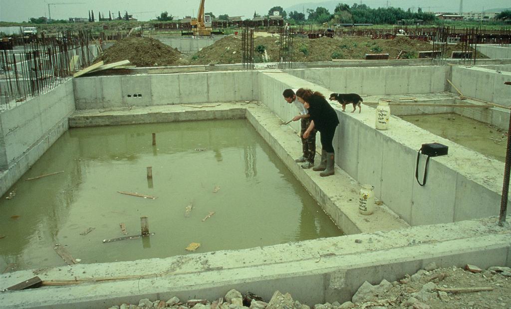 Volontari impegnati nel salvataggio degli Anfibi nei cantieri dell'Università (1996)